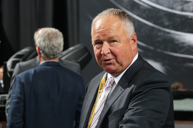 Former Anaheim Ducks head coach Randy Carlyle attends round one of the 2016 NHL Draft