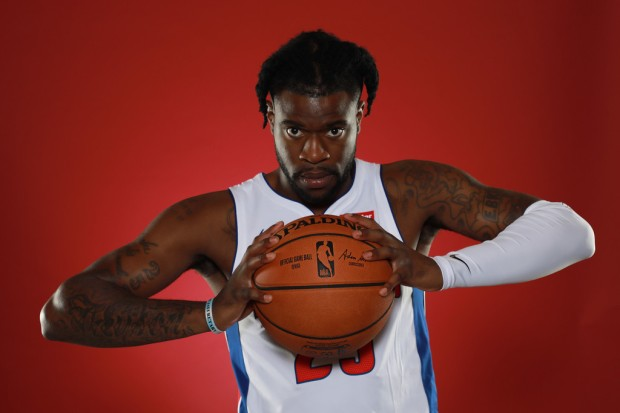 Small Forward Reggie Bullock poses for a portrait during Media Day