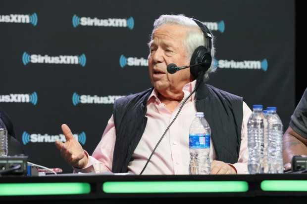 New England Patriots owner Robert Kraft attends a SiriusXM radio interview at Super Bowl LIII Radio Row