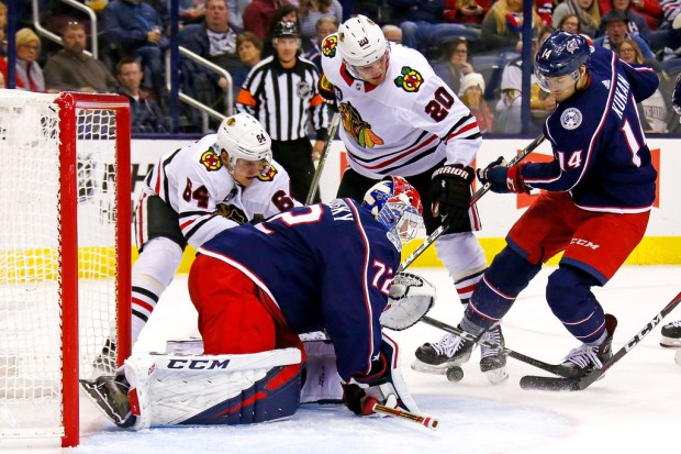 Columbus Blue Jackets goaltender Sergei Bobrovsky makes a save against the Chicago Blackhawks (GColumbus Blue Jackets goaltender Sergei Bobrovsky makes a save against the Chicago Blackhawks