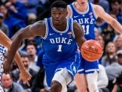 Duke Blue Devils forward Zion Williamson dribbles against the Kentucky Wildcats