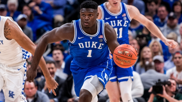 Duke Blue Devils forward Zion Williamson dribbles against the Kentucky Wildcats