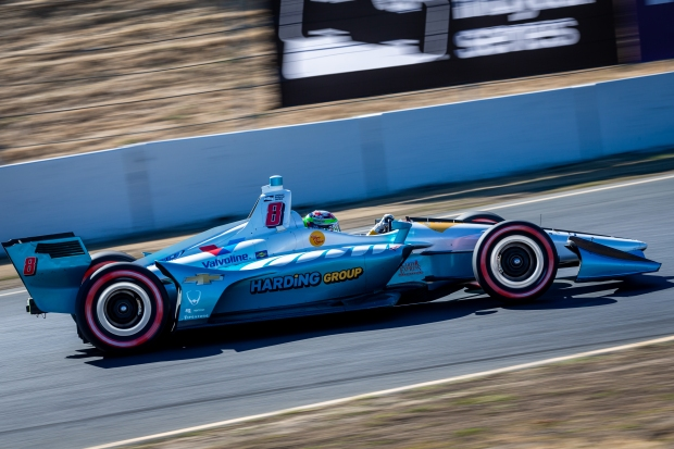 IndyCar driver Pato O'ward sets up Turn 4 during the IndyCar Grand Prix of Sonoma