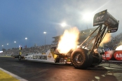 Top Fuel Dragster pilot T.J. Zizzo racing on Friday at the 2019 Amalie Motor Oil NHRA Gatornationals