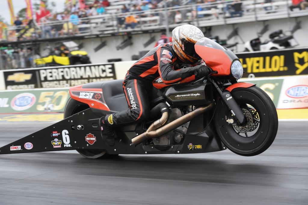 Pro Stock Motorcycle rider Andrew Hines racing on Saturday at the 2019 Amalie Motor Oil NHRA Gatornationals