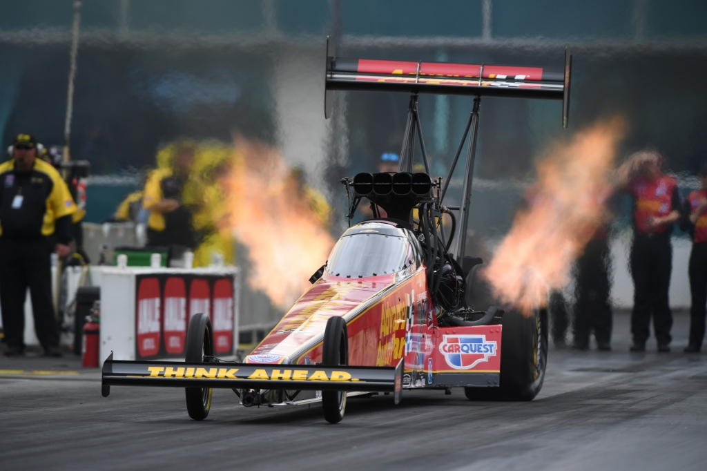 Top Fuel Dragster pilot Brittany Force racing on Saturday at the 2019 Amalie Motor Oil NHRA Gatornationals
