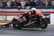 Pro Stock Motorcycle rider Andrew Hines racing on Sunday at the 2019 Amalie Motor Oil NHRA Gatornationals