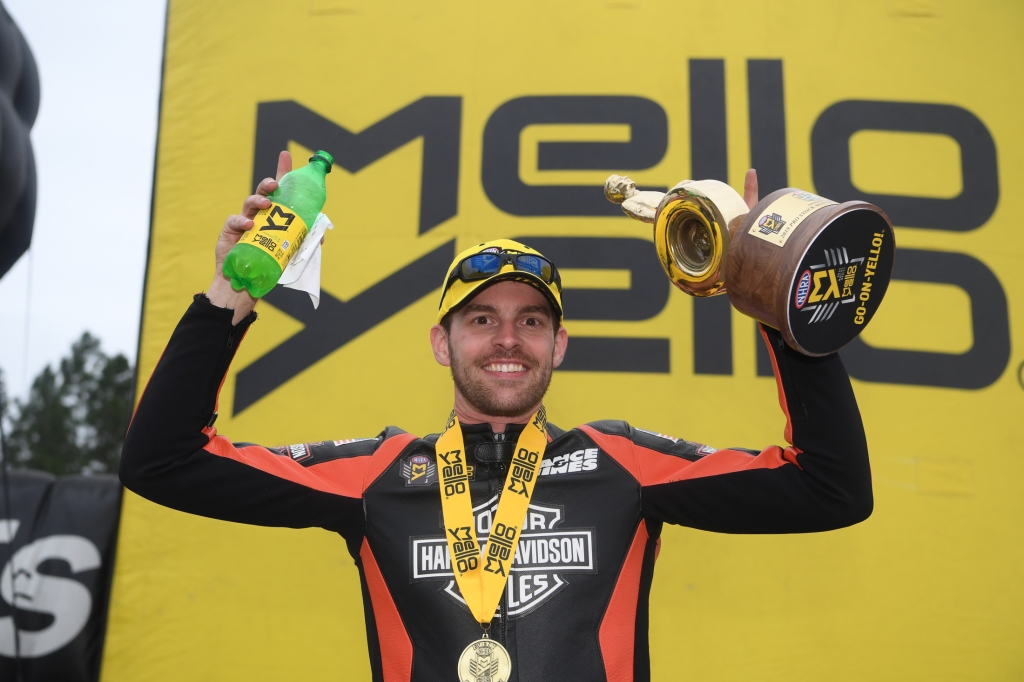 Pro Stock Motorcycle rider Andrew Hines in his celebration Wally after winning the 2019 Amalie Motor Oil NHRA Gatornationals