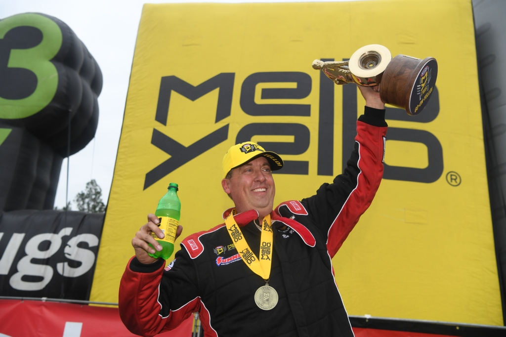 Pro Stock driver Bo Butner after winning the 50th annual Amalie Motor Oil NHRA Gatornationals