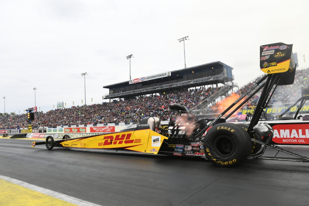 Top Fuel Dragster pilot Richie Crampton racing on Sunday at the 2019 Amalie Motor Oil NHRA Gatornationals