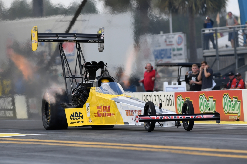 DHL/Kalitta Air Top Fuel Dragster pilot Richie Crampton racing on Sunday at the 2018 Amalie Motor Oil NHRA Gatornationals