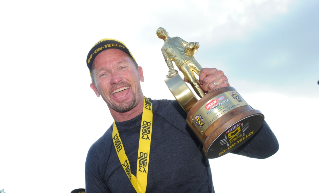 Funny Car pilot Jack Beckman with the 2018 Amalie Motor Oil Gatornationals Wally