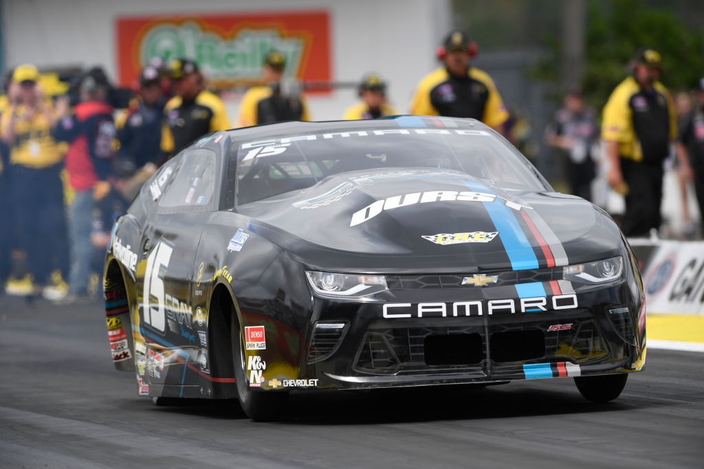 Former Pro Stock driver Tanner Gray racing on Sunday at the 2018 Amalie Motor Oil NHRA Gatornationals