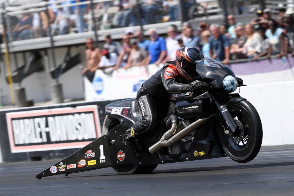 Pro Stock Motorcycle driver Eddie Krawiec racing on Sunday at the 2018 Amalie Motor Oil NHRA Gatornationals