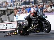 Pro Stock Motorcycle driver Eddie Krawiec racing on Sunday at the 2018 Amalie Motor Oil NHRA Gatornationals