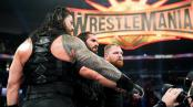 The Shield (Dean Ambrose, Seth Rollins, Roman Reigns) after their win at WWE Fastlane in Cleveland, Ohio