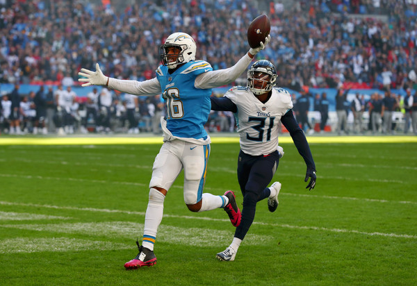 Los Angeles Chargers wide receiver Tyrell Williams scoring a touchdown against the Tennessee Titans in the 2018 NFL International Series