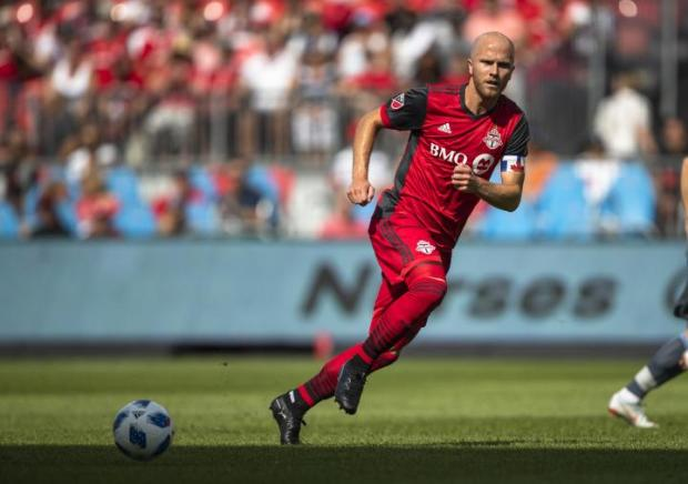 Toronto FC midfielder Michael Bradley playing against NYFC