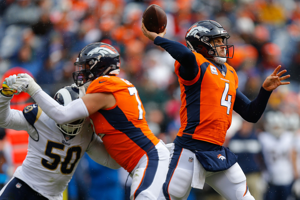Former Denver Broncos quarterback Case Keenum attempts a pass against the Los Angeles Rams