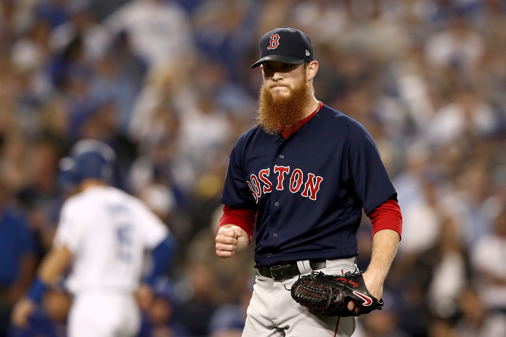 Former Boston Red Sox closer Craig Kimbrel reacts after retiring the side against the Los Angeles Dodgers in the 2018 World Series