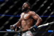 MMA fighter Curtis Blaydes reacts after defeating Alistair Overeem by TKO