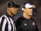 Former Kansas Jayhawks head football coach David Beaty on the field against the Southeast Missouri State