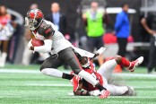 Tampa Bay Buccaneers wide receiver DeSean Jackson making a reception against the Atlanta Falcons