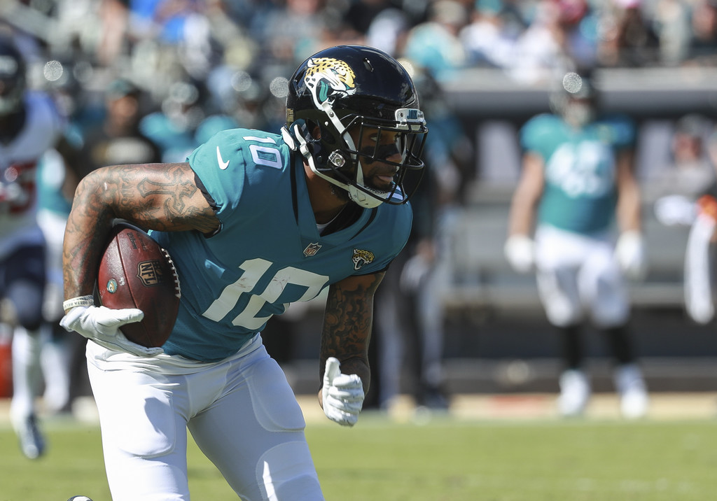 Former Jacksonville Jaguars wide receiver Donte Moncrief runs after a reception against the Houston Texans