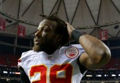 Kansas City Chiefs safety Eric Berry walks off the field after defeating the Atlanta Falcons
