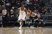 Milwaukee Bucks guard Eric Bledsoe dribbling the ball against the New York Knicks