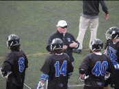 Brevard College Tornados men's lacrosse head coach Jim Fritz coaching his team during the 2019 season