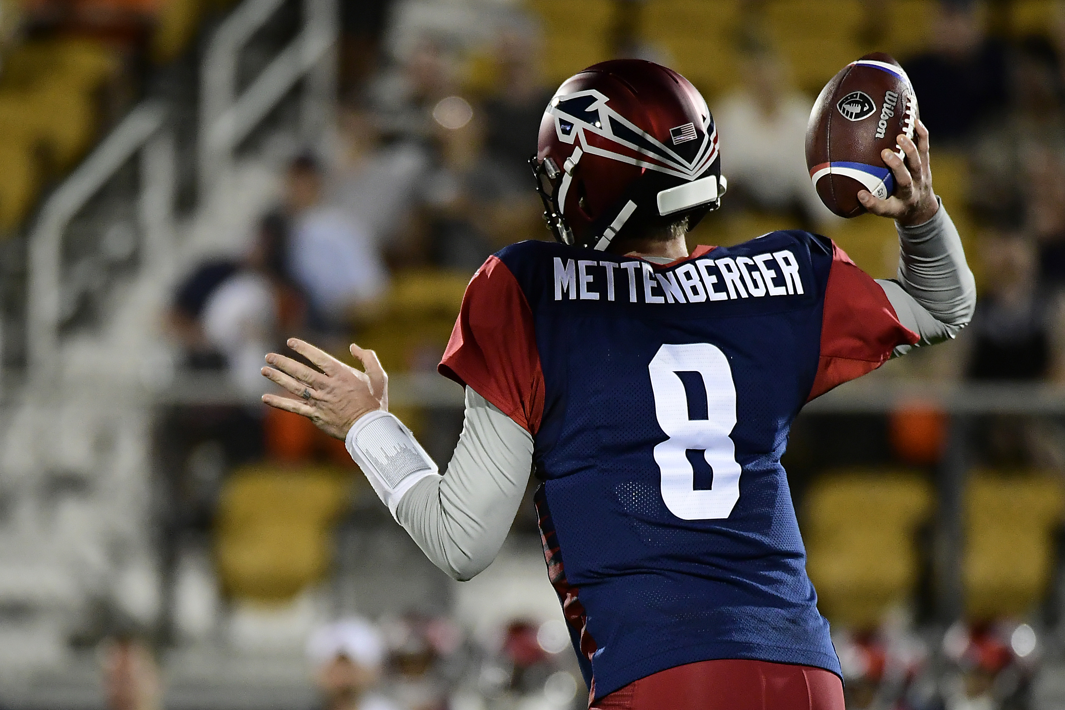 Memphis Express quarterback Zach Mettenberger attempts a pass against the Orlando Apollos