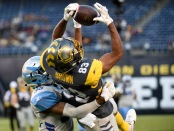 San Diego Fleet wide receiver Brian Brown makes a reception against the Salt Lake Stallions