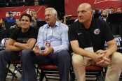 Los Angeles Clippers consultant Jerry West sits with Clippers owner Steve Ballmer and Dallas Mavericks owner Mark Cuban at a 2018 NBA Summer League game