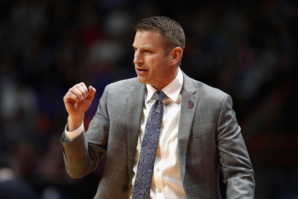 Former Buffalo Bulls head coach Nate Oats reacts to a call against the Arizona Wildcats in the 2018 NBCAA Men's Basketball Tournament