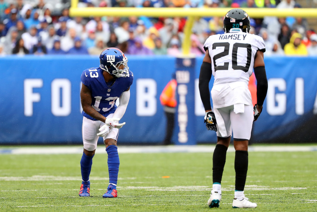 Former New York Giants wide receiver Odell Beckham Jr. lines up against Jalen Ramsey against the Jacksonville Jaguars