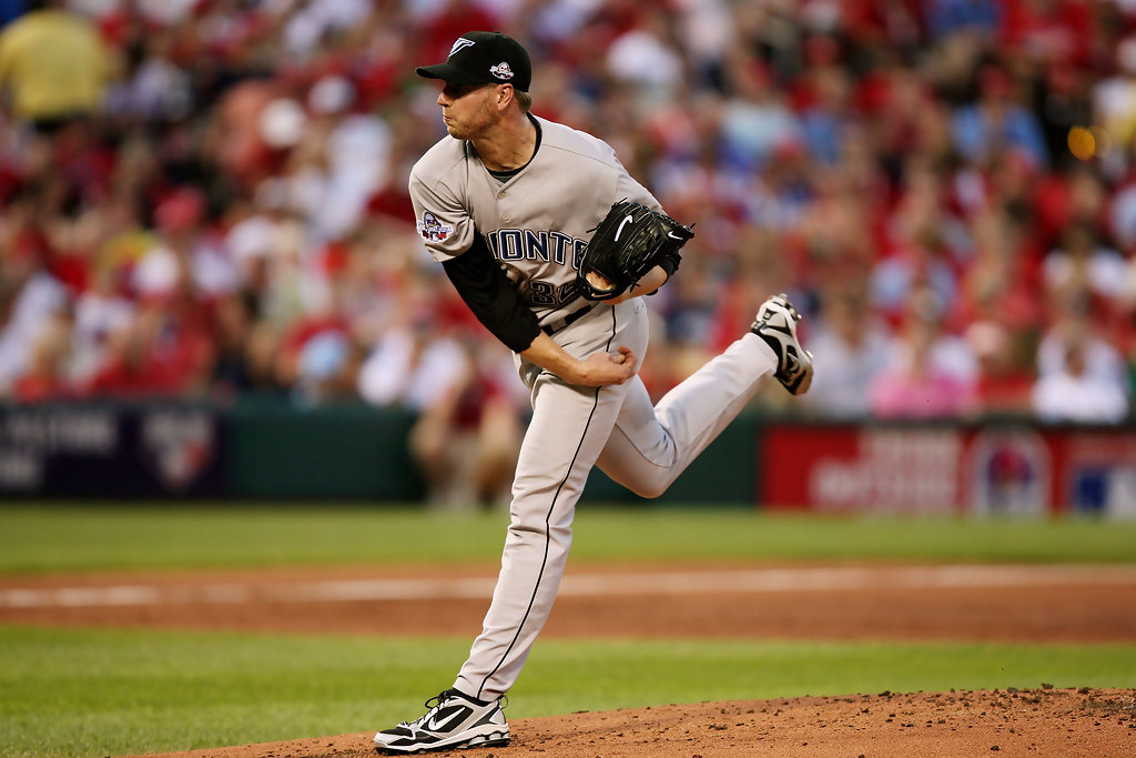 Pitcher Roy Halladay pitching in the 2009 MLB All-Star Game as a member of the Toronto Blue Jays