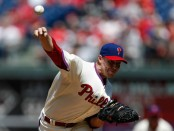 Former Philadelphia Phillies pitcher Roy Halladay throws against the Arizona Diamondbacks