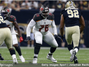 Tampa Bay Buccaneers tackle Donovan Smith looking to guard a defender against the New Orleans Saints
