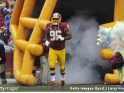 Former Washington Redskins defensive tackle Barry Cofield is introduced before the game against the Dallas Cowboys