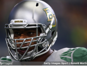Former Baylor Bears defensive lineman Shawn Oakman before the game against the Texas Tech Red Raiders