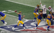 Los Angeles Rams quarterback Jared Goff attempts a pass against the New England Patriots in Super Bowl LIII
