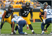 Former Pittsburgh Steelers offensive lineman Marcus Gilbert in action against the Tennessee Titans