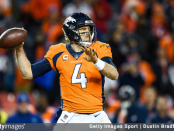 Former Denver Broncos quarterback Case Keenum attempts a pass against the Los Angeles Chargers