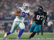 Former Jacksonville Jaguars defensive end Malik Jackson attempts to tackle Rico Gathers against the Dallas Cowboys