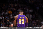 Los Angeles Lakers star LeBron James takes a breather against the Denver Nuggets