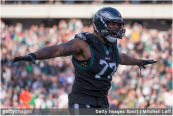 Former Philadelphia Eagles defensive end Michael Bennett reacts after a play against the New York Giants