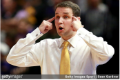 LSU Men's Basketball coach Will Wade reacts to a play against the Texas A&M Aggies