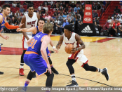 Miami Heat guard Josh Richardson dribbles to the basket against the New York Knicks