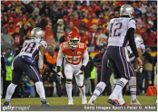 Kansas City Chiefs defensive end/linebacker Dee Ford gets set on defense against the New England Patriots in the AFC Championship Game